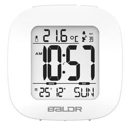 Wholesale Digital Clock Radios - Fashion Baldr Radio Controlled Alarm Clock Elegantly Designed Mini Snooze Alarm Clocks Digital Calendar Temperature Backlight