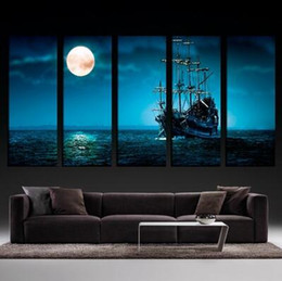Wholesale modern paintings large size - 5 Panels Large Size Beautiful Moonlight Ocean Ship Modern Creative Landscape Photos Picture Wall Art Picture Modern Home Decor Living Room o