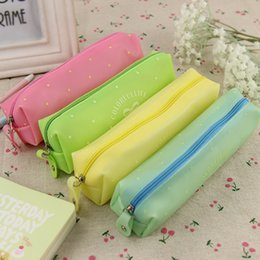 Wholesale Bow Pencils Cases - 1PC Bow Silicone Waterproof Pencil Case School Kids Stationery School Supplies 4 Color Available