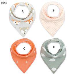 Wholesale Baby Ties Pattern - 2017 New ! INS Bandana bib set  Baby bib set Baby shower gift 4 pcs one set fox polka dot  cloud  cross orange grey pattern mixed