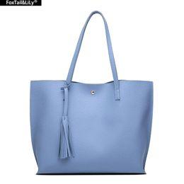 Wholesale Handbags Wholesale Top Brand - Wholesale- 2016 Luxury Brand Women Shoulder Bag Soft Leather Top-Handle Bags Ladies Tassel Tote Handbag High Quality Women's Handbags