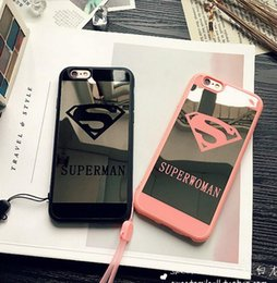 Wholesale Soft Tpu Metal Back - Phone Mirror Case For iPhone 7 6s Plus 5 5s Superman Case Soft Silicone Frame Back Cover For iPhone 7 7 Plus Capa