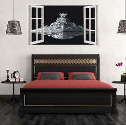 Wholesale Mural Art Stickers - Free shipping:3D Spacecraft PVC Wall Decal Adhesive and removable spacecraft Wall Stickers wallpaper Mural Art Home Decor Accessory