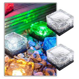 Wholesale Brick Designs - Creative design Led solar lamp ice brick ground light cube shaped solar garden light multi colors wireless undergroud lawn lamp white blue