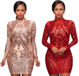 Wholesale velour robes - Long Sleeve Turtle neck Bodycon Dress Sequined Bandage Dresses 2017 Elegant Lady Mesh Patchwork Party Female Bodycon Robe Apricot Plus Size