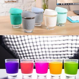 Wholesale Wholesale Glass Coffee Cups - Candy color smile Glass Safe coffee cup Coffee JOCO design smile print Mugs Travel reusable glass cup 15 color KKA1802