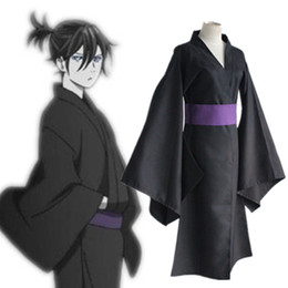 Wholesale Japanese Clothing Kimono - Yato cosplay costumes black kimono Japanese anime Noragami clothing Masquerade Mardi Gras Carnival costumes supply from stock