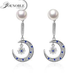 Wholesale 14k Gold Star Stud Earrings - YouNoble 2017 Fashion Moon Star Pearl Earrings Pearl 7-8mm For Women Jewelry Silver Freshwater Pearl Silver Earrings Wedding Jewelry