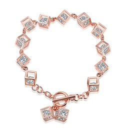 Wholesale Zircon Drop - New women's 925 silver bracelet rose gold cubic zircon Link bracelets personality popular hot selling 1pcs lot wholesale drop shipping