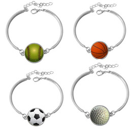 Wholesale Ceramic Bowls Set - Best gift New Football Basketball Bowling Rugby Series Bracelet Bracelet FB254 mix order 20 pieces a lot Charm Bracelets