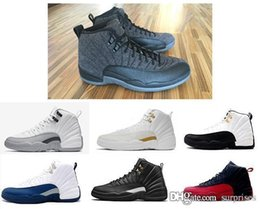 Wholesale Masters Media - 2018 Hot New High Quality Original Men's Retro Basketball shoes 12s the Master Black leather stitching metal buckles Sneakers
