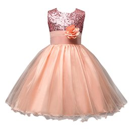 Wholesale Kids Girl Long Skirt - FantastCostumes Girls Sequins Lace Tutu Party Wedding Princess Dress Tutu Lace Flower Long Dresses Princess Chiffon Formal Kids Skirt
