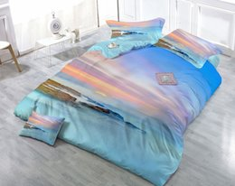 Wholesale Sunset 3d Bedding - Custom Drawings Can be Customized 3D Seashore Sunset in the Mist Digital Printing Cotton Satin 4-Piece Duvet Cover Sets Bedding Sets