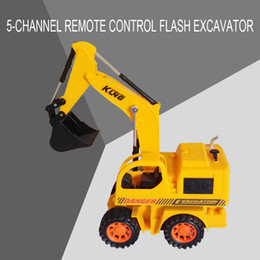 Wholesale Battery Operated Dolls - Wired remote control vehicle children remote control model car multi-function flash excavator wired control traffic toy model doll