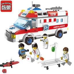 Wholesale Plastic Toy Ambulance - Enlighten 1118 Building Blocks Ambulance Model Blocks 328+pcs DIY Bricks Car Styling Building Blocks Playmobil Toys For Children