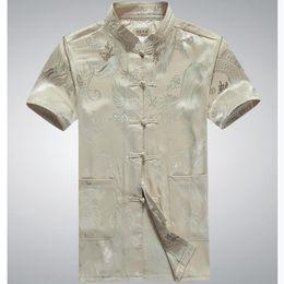 Wholesale Long Sleeve Cheongsam Tops - Wholesale- China dragon 2016 Men Tang Suit Short Sleeve Summer Cheongsam Top Jacquard Silk Shirt Men Kung Fu Tai Chi Uniform w377