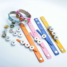 Wholesale Channel Belts - New 18mm Noosa Button belt Bracelets Jewelry Multicolor Straps Style wristband Bracelets For DIY Snap Buttons