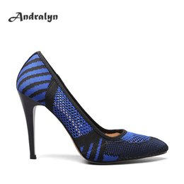 Wholesale Sexy White Satin Heels - Andralyn new arrivals women thin high heels dress shoes sexy pointed toe knitting wool shallow casual ladies party pumps