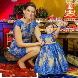 Wholesale Matching Prom Dresses - Royal Blue Mother Daughter Dress For Bithday Dress Family Matching Outfits Princess Kids and Mother Dresses Wear Prom Parenting Dress
