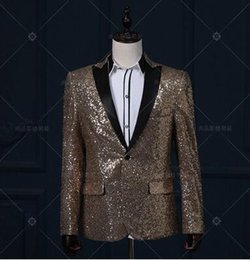Wholesale Dj Jacket - casual jacket blazer silver singer dancer show male DS dance costumes outerwear coat DJ jazz nightclub performance stage prom