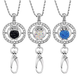 Wholesale Rhinestone Id Badge Holders - Womens Office Lanyard Owl ID Badges Holder Necklace with 5pcs Owl Rhinestone Snaps Jewelry Pendant N176S
