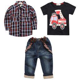 Wholesale Boys Cowboy Shirt - Children Set Baby Boys Clothes EuropeStyle Plaid Shirt +Short Sleeve+Cowboy Straps Pants 3pc Child Kids Costume For Boys B4748