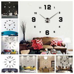 Wholesale Character Wall Clocks - 3D DIY Acrylic Wall Clock Big Mirror Wall Clock Large Size Wall Clocks