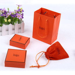 Wholesale Velvet Jewelry Bags Boxes - Hot Sale Branded famous brand H bracelet and necklace box set with original Brand bag velvet Pouc jewelry Orange yellow gift box Top Quality