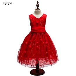 Wholesale Wholesale Red Dress Pageants Girls - flower girl dresses for weddings kids girl dress prom pageant graduation children red first communion dresses for girls