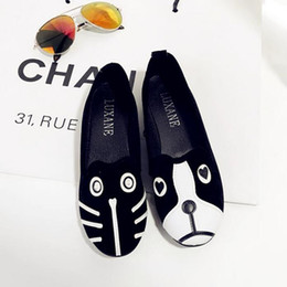 Wholesale Dog Cat Shoes - Women Brand Shoes Dog Cat Flat Shoes Personality Women's Shoes Comfortable Loafers Casual Cartoon Suede Women Flat Shoe