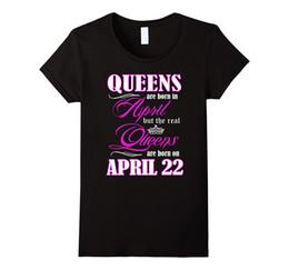 Wholesale Black Gildan Shirt - Black Cotton T Shirt Gildan Short Sleeve Summer Crew Neck Womens Queens Are Born On April 22 Birthday Tee Shirt