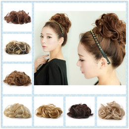 Wholesale Hair Extension Bun Pieces - Wholesale- High Quality Women's Tiara Satin Curly Messy Bun Hair Twirl Piece Band Rope Scrunchie Wigs Extensions Hairdressing 7 Color
