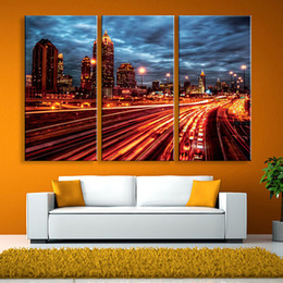 Wholesale Office City - City Night Lights Led Canvas Wall Murals Illuminated Art With LED Lights For Home Office Art Decor