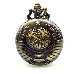 Wholesale Relogio Bolso Vintage - Wholesale- Vintage Bronze Quartz Pocket Watch Russia Soviet Sickle Hammer Train Eagle Wings Fire Fighter Horse Necklace Relogio De Bolso