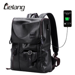 Wholesale European Travel Usb - Wholesale- LIELANG Brand Backpack Men External USB Charge Antitheft School Bag PU Leather Travel Bag Casual Bagpack 14 Inch Laptop Rucksack