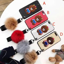 Wholesale Fits Silicone Wristbands - For iPhone8 8plus Cartoon Embroidered bear frosted silicone phone case with hair ball wristband for iPhone7 6 6S 7plus