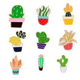 Wholesale enamelled pots - 9 Styles Set Green Plant Enamel Brooch Pins 2017 Summer Hot Fashion Colorful Cactus Succulent Potted Plants Collar Brooch Women Jewelry