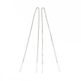 Wholesale Threading Earrings - 14cm Box Chain Dangle Silver Earrings Guaranteed 100% Solid 925 Sterling Silver Earring Tassel Thread YH1048