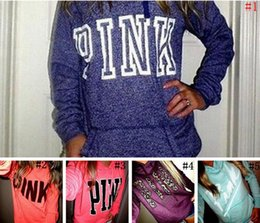 Wholesale Pink Long Sweater - 5 Colors Women Pink Letter Sweatshirts VS Pink Tops VS Pink Pullover Letter Print Hoodie Fashion Shirt Coat Long Sleeve Hoodies Sweater