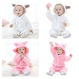 Wholesale Hooded Bear Jumpsuit - Baby Clothes Romper Boys Girls Newborn Bodysuit Sleepsuit Cute Animal Bear Jumpsuits Infant Onesies Winter Children Kids Clothing 430