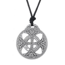 Wholesale Christmas Rope - Viking Norse Large Irish Knot Rune Necklace Wiccan Pagan Asatru Geometric Jewelry Rope Necklace Egyptian Necklaces for Women