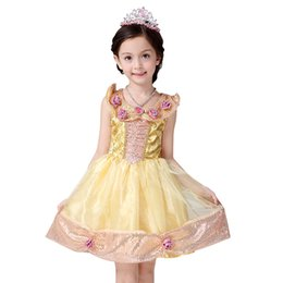 Wholesale Belle Summer - Fashion New Kids Girl Beauty and the Beast Cosplay Costume Kids Belle Princess Dress for Christmas Halloween free shipping
