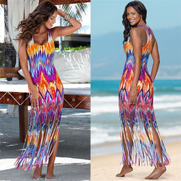 padrões de vestido maxi para as mulheres Desconto Misstyle verão mulheres dress mangas colete long beach vestido padrão de chama sexy maxi vestidos casuais tassel apertado longo dresse