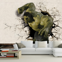 Wholesale Wholesale Wall Decal Printing - Wholesale- Hot sale 3D Hulk Mural wallpaper full Wall Murals print decals Home Decor High Quality photo wallpaper