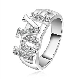 Wholesale Gemstones Ring Designs - fashion design letter sterling silver jewelry ring SR514, brand new White gemstone 925 silver finger rings Wedding Rings