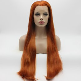 Wholesale Red Hair Lace Front Wigs - Iwona Hair Straight Extra Long Blonde Red Mix Wig 22#144 3100 Half Hand Tied Heat Resistant Synthetic Lace Front Wigs