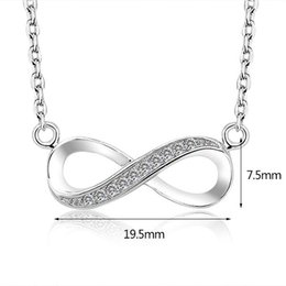 Wholesale Silver Infinite - 2017 high quality 925 Sterling Silver Infinite Love Infinity Symbol Tiny Charm Necklace white gold plated good present gift for women