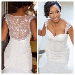 Wholesale Embellished Mermaid Wedding Dresses - 2016 Romantic Nigeria Wedding Dresses Mermaid Sheer Straps Heavily Embellished Organza Court Train Vintage Garden Beach Bridal Gowns