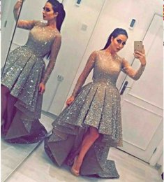Wholesale High Low Evening Long Dresses - New Coming Capped Long Sleeves High Low Ruffle Luxurious BlingBling Shiny Sweep Train Evening Dresses Prom Dress