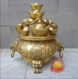Wholesale Large Folding Fans - Large copper cornucopia Decoration open deposit cans genuine Cheung Lions special promotions